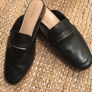 Aldo size 8.5 black leather loafer slides